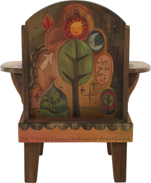 "Friedrich's Chair and Matching Ottoman –  ""Love You/Love Them"" Friedrich's chair with ottoman with beautiful nature-inspired motif featuring the tree of life"