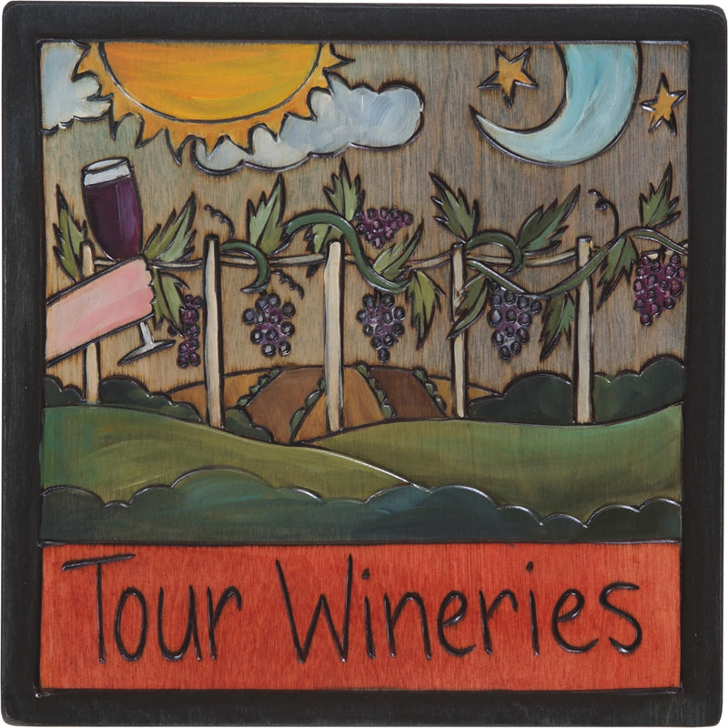 "7""x7"" Plaque –  ""Tour Wineries"" vineyard plaque motif"