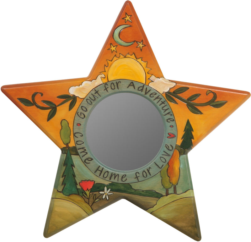 "Star Shaped Mirror –  ""Go Out for Adventure/Come Home for Love"" star-shaped mirror with sun and moon over beautiful rolling hills motif"