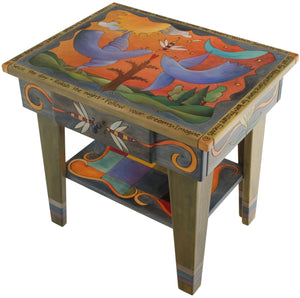 Nightstand with Open Shelf –  Vibrant and eclectic nightstand with birds, sun and moon, and tree of life