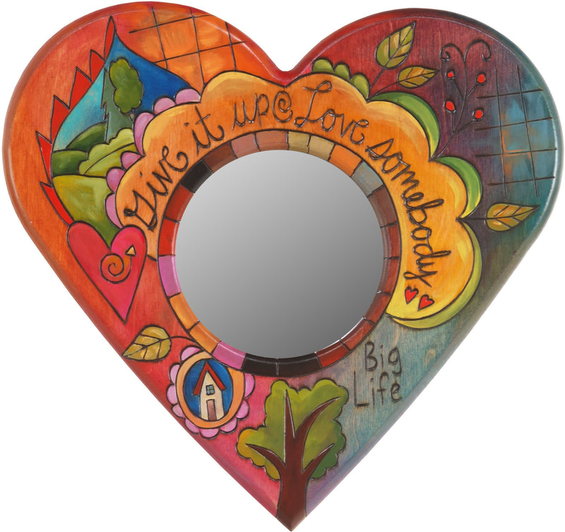 "Heart Shaped Mirror –  ""Give it Up/Love Somebody"" heart-shaped mirror with home and tree of life motif"