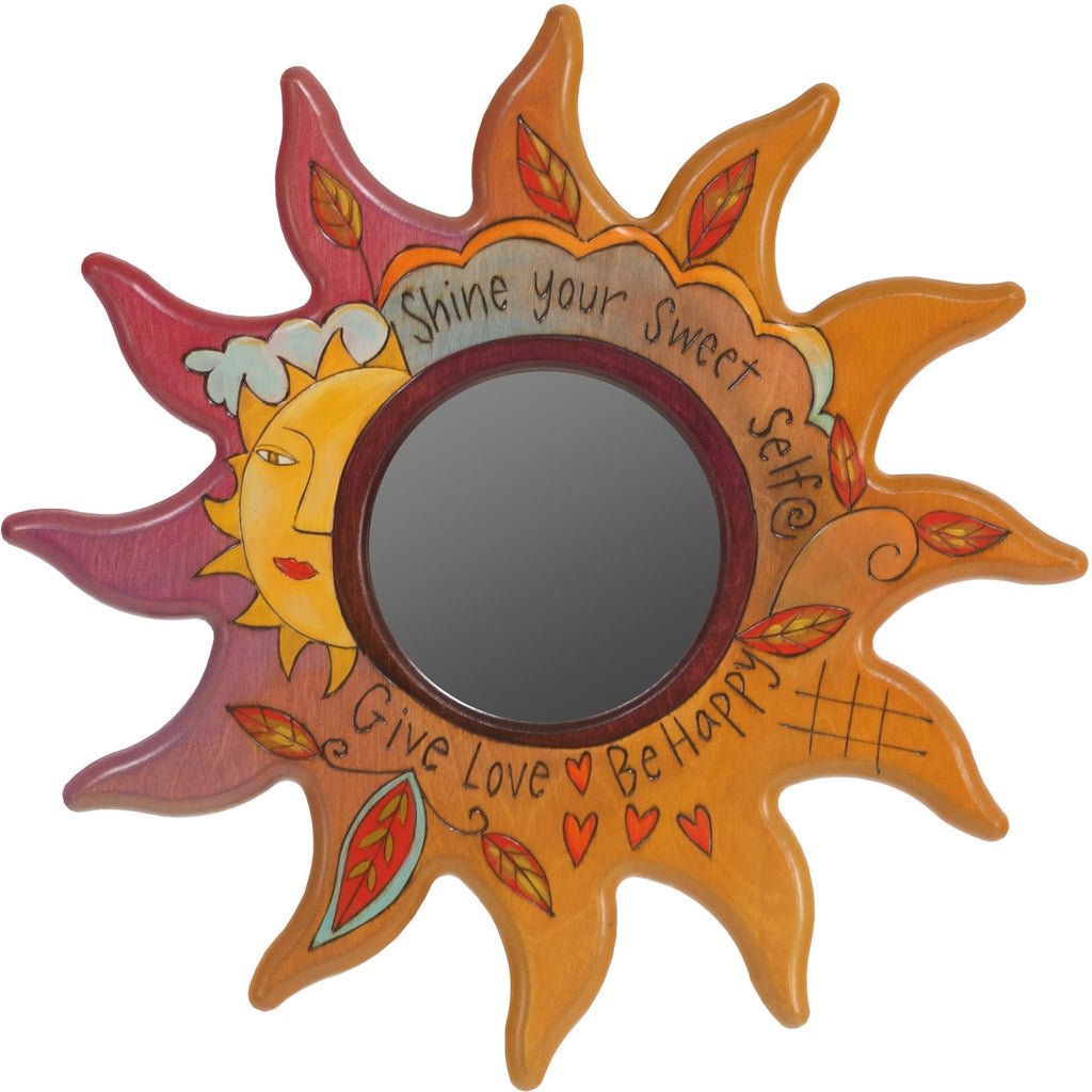 "Sun Shaped Mirror –  ""Shine your Sweet Self"" sun-shaped mirror with smiley sun and leaf motif"