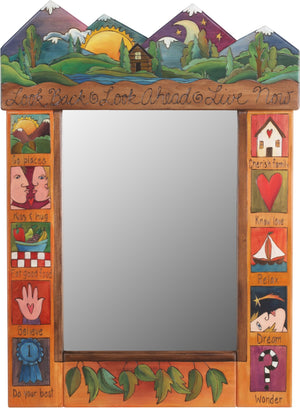 "Medium Mirror –  ""Look Back/Look Ahead/Live Now"" mirror with sun and moon behind the  mountains with home motif"