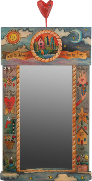 "Large Mirror –  ""Go our for Adventure/Come Home for Love"" mirror with home on the horizon and sun and moon motif with blue/gray background"