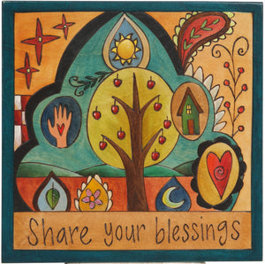 "Sticks handmade wall plaque with ""Share Your Blessings"" quote and whimsical, colorful and modern folk art design"