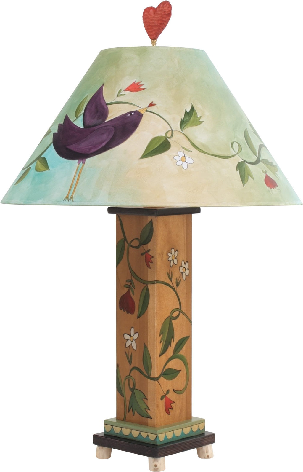 Box Table Lamp –  Eclectic folk art table lamp with vines, flowers, and birds