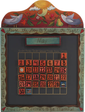 Small Perpetual Calendar –  Beautiful calendar with birds, flowers, and vines motif