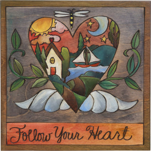 "Sticks handmade wall plaque with ""Follow your heart"" quote and heart with wings and home imagery"