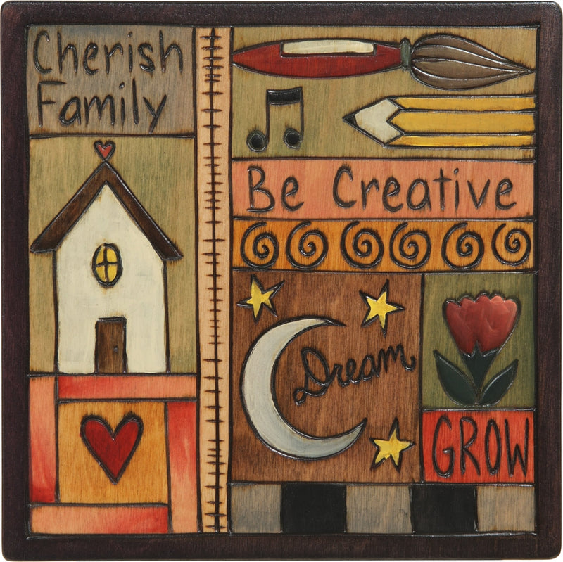 "Sticks handmade wall plaque with ""Cherish Family, Be Creative, Dream, Grow"" quote with colorful life icons"