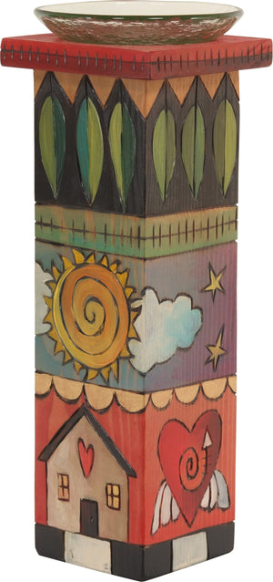 Large Pillar Candle Holder –  Colorful candle holder with sun and moon motif and pretty patterns