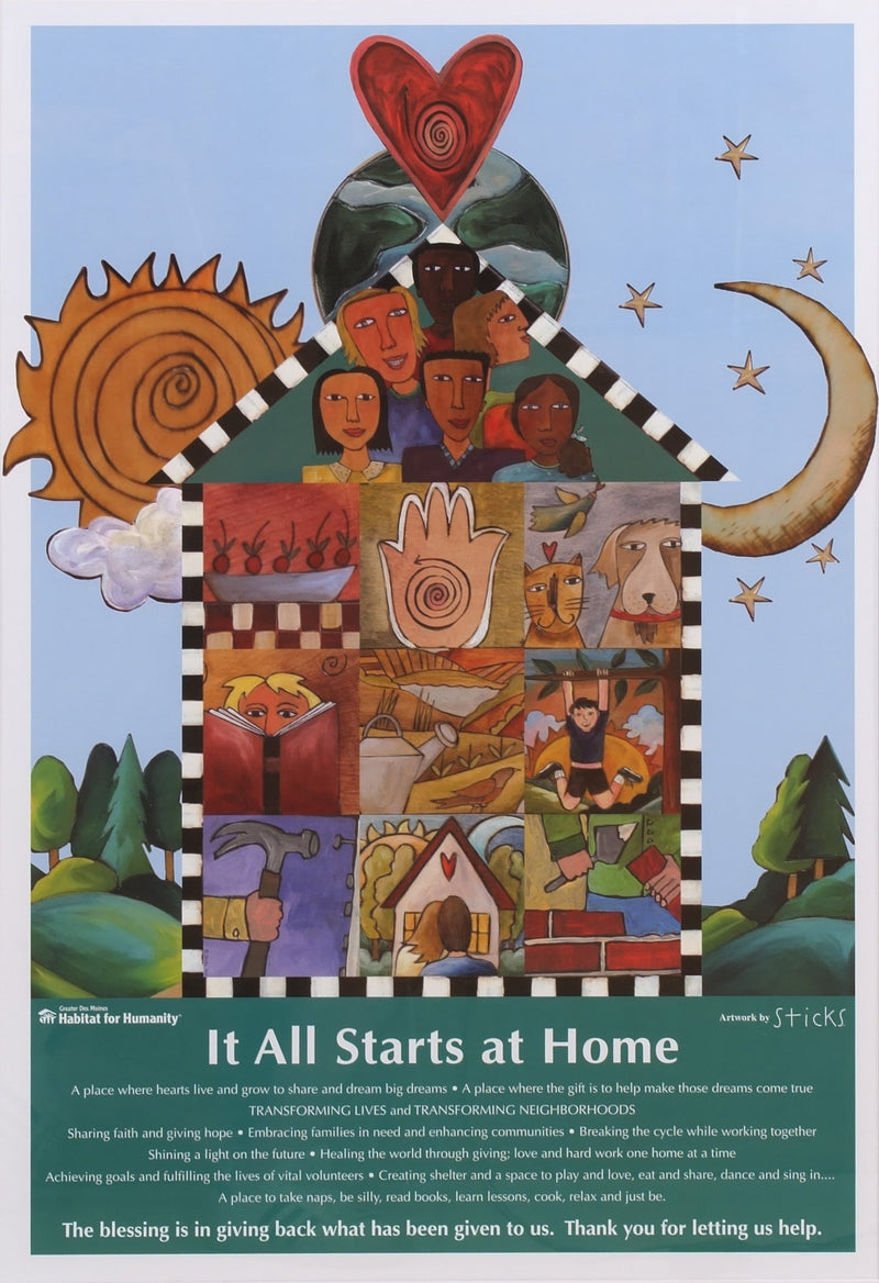 "Habitat for Humanity Poster –  ""It all Starts at Home"" Habitat for Humanity Poster with sun, moon and home motif"
