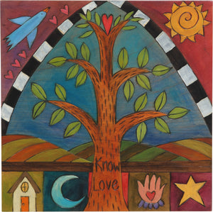 "10""x10"" Plaque –  ""Know love"" tree of life plaque with soaring bird above and patches below"