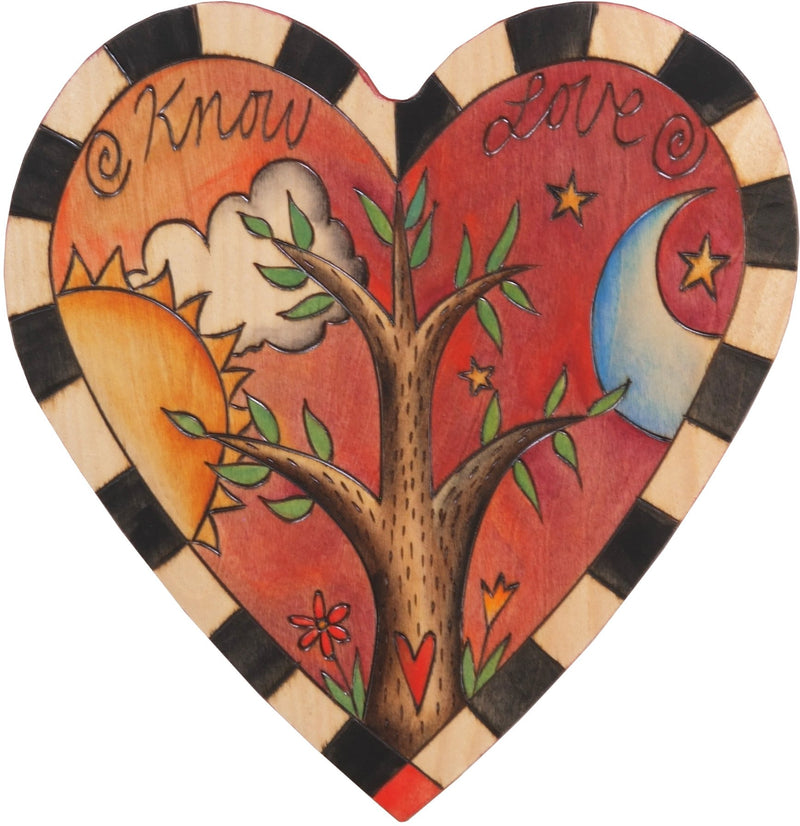 "Heart Shaped Plaque –  ""Know Love"" tree of life heart shaped plaque with sun and moon motif"