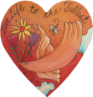 "Heart Shaped Plaque –  ""Live Life to the Fullest"" heart shaped plaque with bird and flowers"
