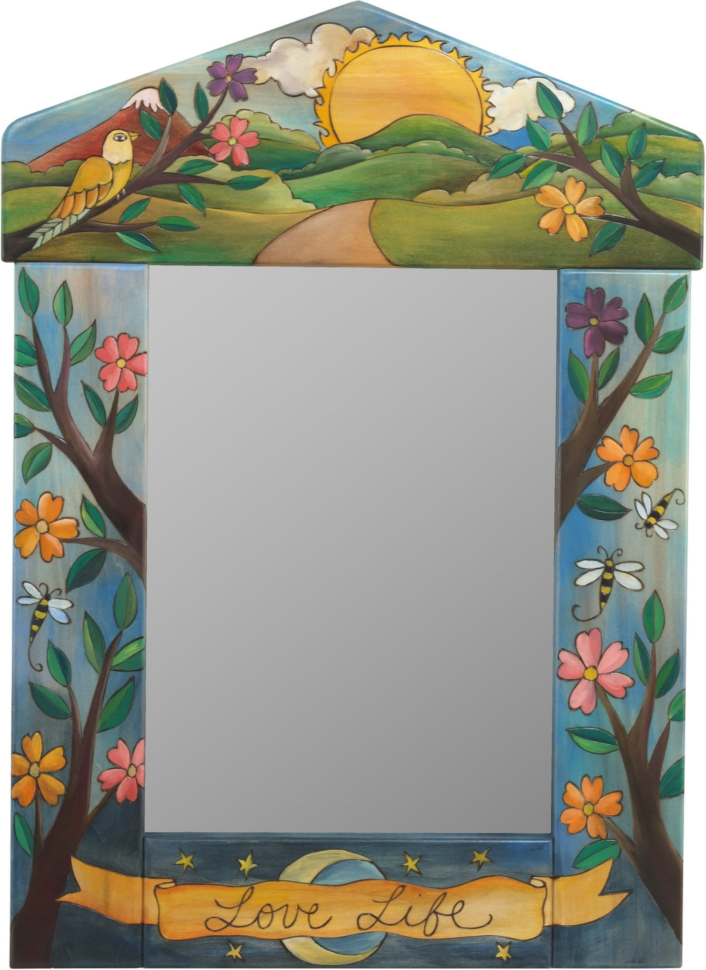 "Medium Mirror –  ""Love Life"" mirror with sunset over the mountains motif"
