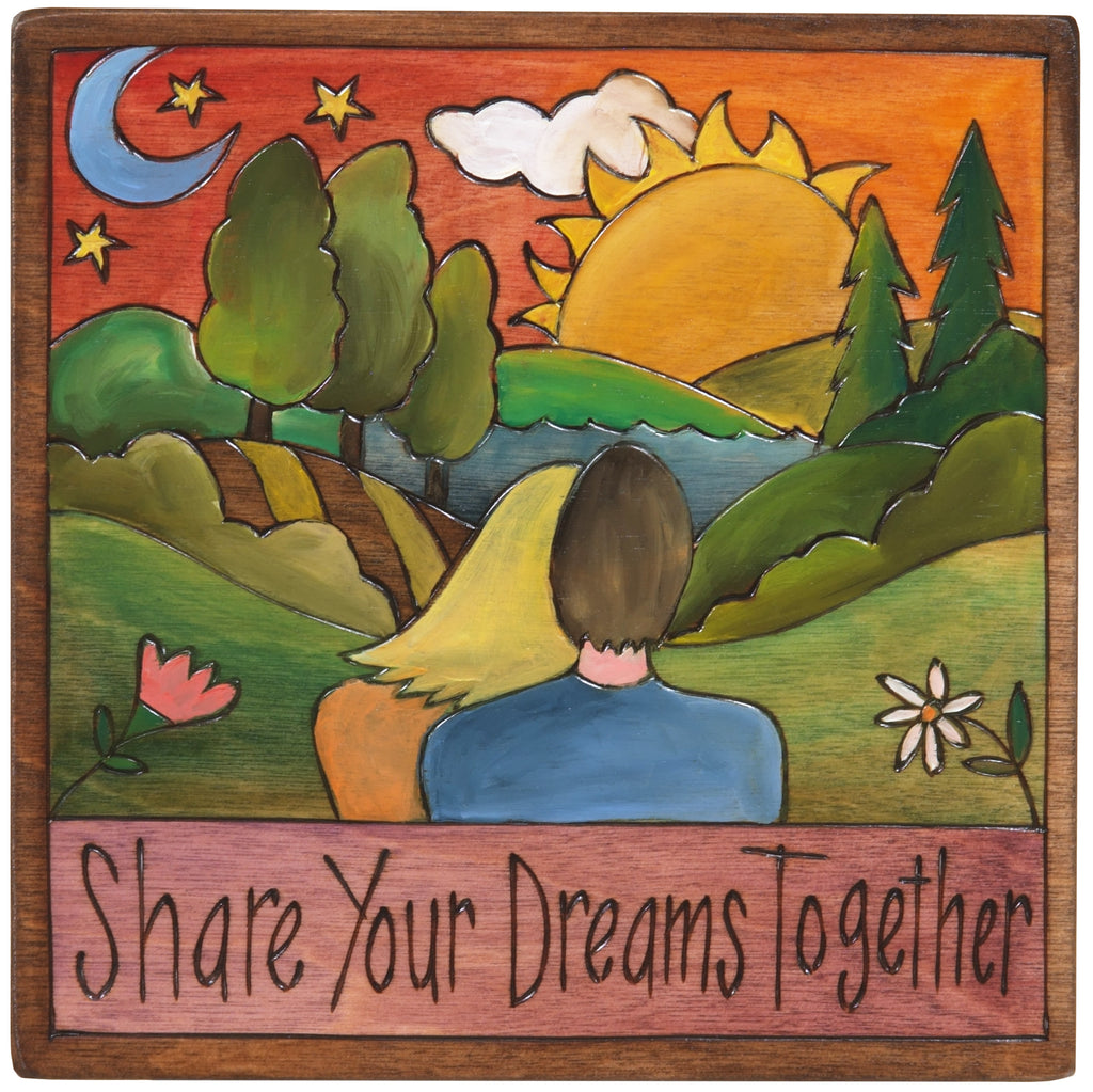 "7""x7"" Plaque –  ""Share your dreams together"" couple in love motif"
