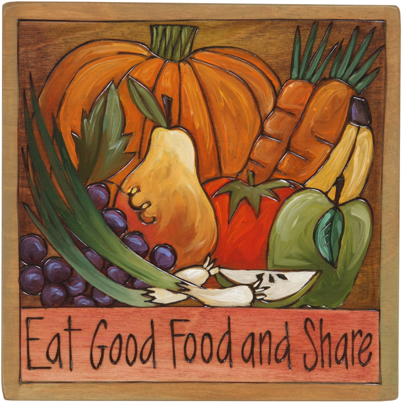 "10""x10"" Plaque –  ""Eat good food and share"" with a full autumn harvest"