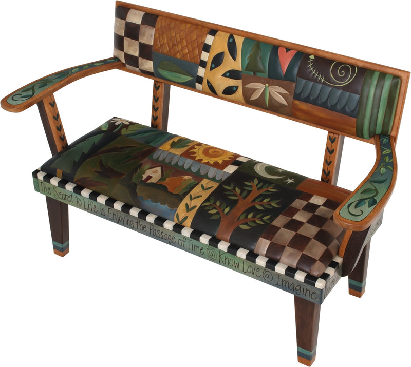 Loveseat with Leather Seat –  Beautiful loveseat with hand stitched leather cushions and elegant block icons and patterns