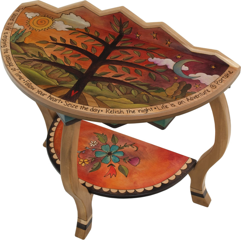 Small Half Round Table –  Lovely half round table with tree of life and floral motifs