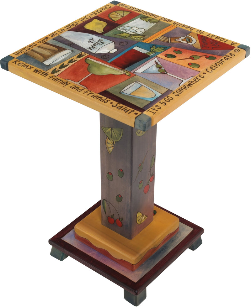 Martini End Table –  Fun and eclectic martini end table with part elements and block icons