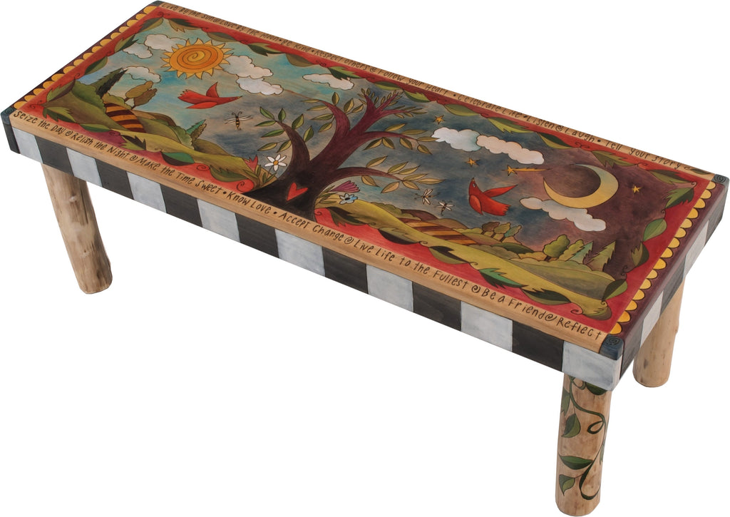 Sticks handmade 4' bench with tree of life and rolling landscape