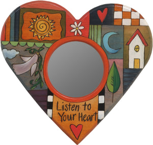 "Heart Shaped Mirror –  ""Listen to your Heart"" heart-shaped mirror with home, sun and moon motif"