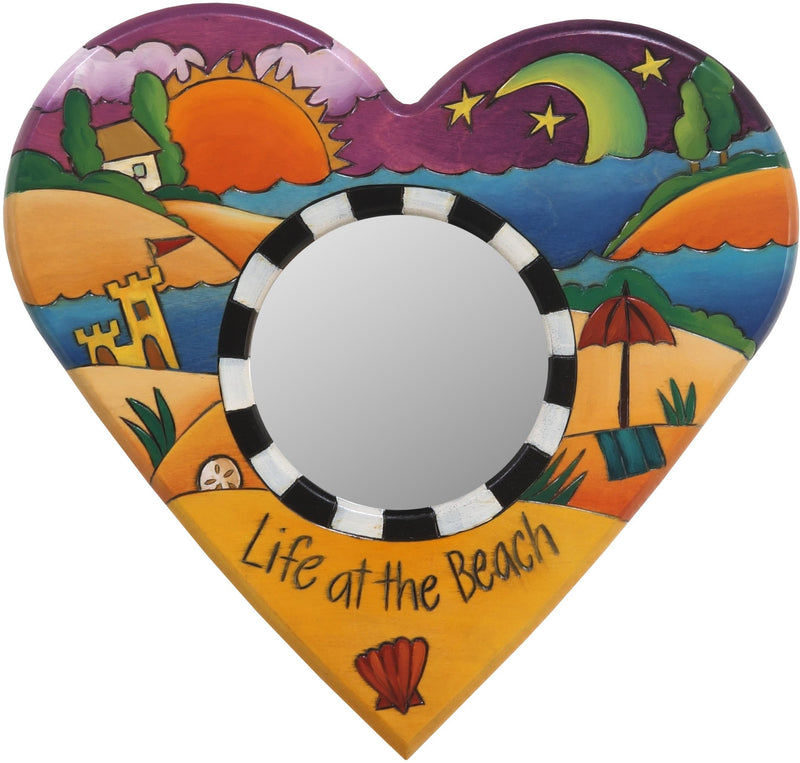 "Heart Shaped Mirror –  ""Life at the Beach"" heart-shaped mirror with sun and moon over the beach motif"