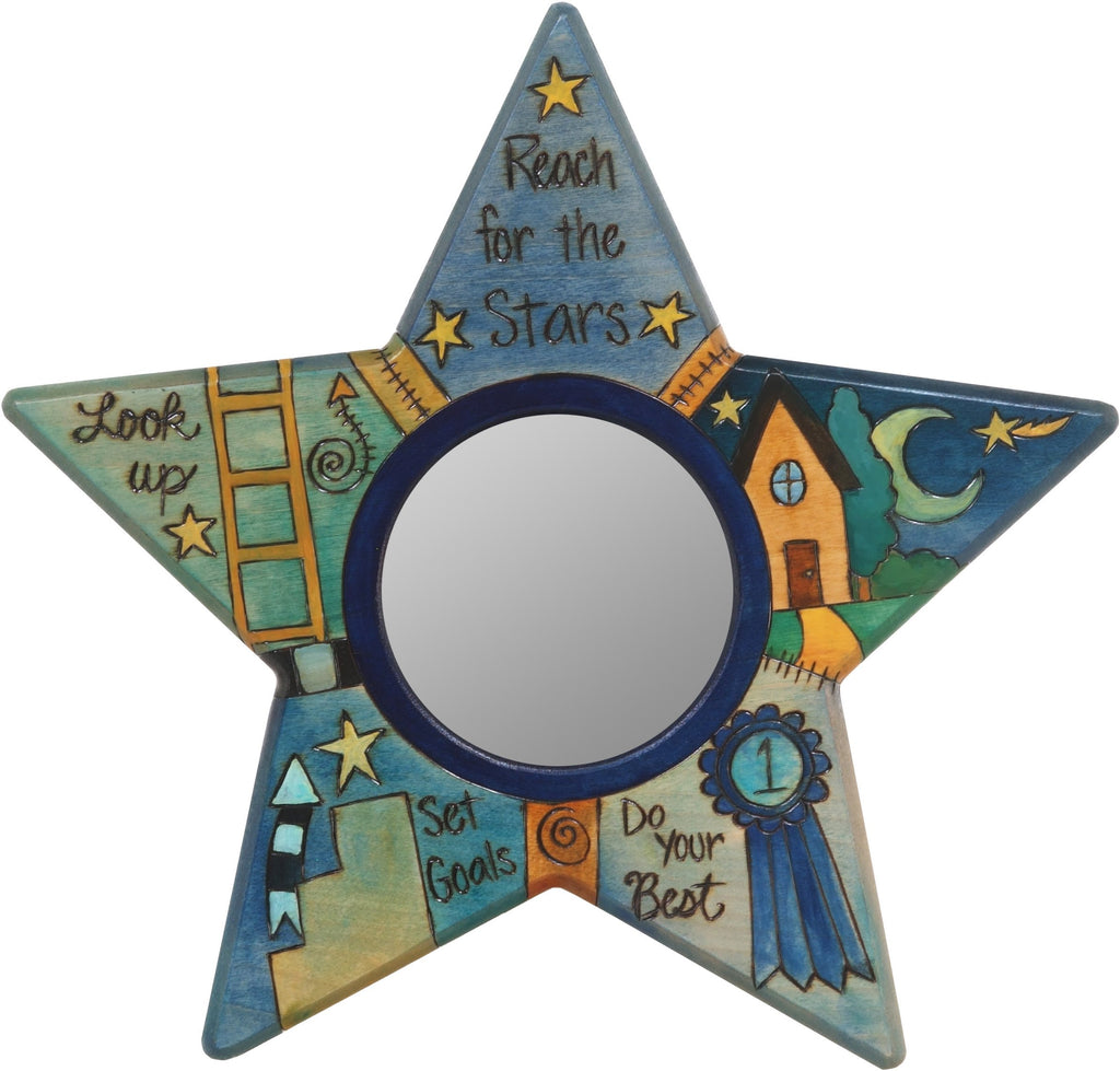 "Star Shaped Mirror –  ""Reach for the Stars"" star-shaped mirror with moon and home motif"
