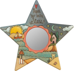 "Star Shaped Mirror –  ""Thank your Lucky Stars"" star-shaped mirror with sunset over a beach paradise motif"