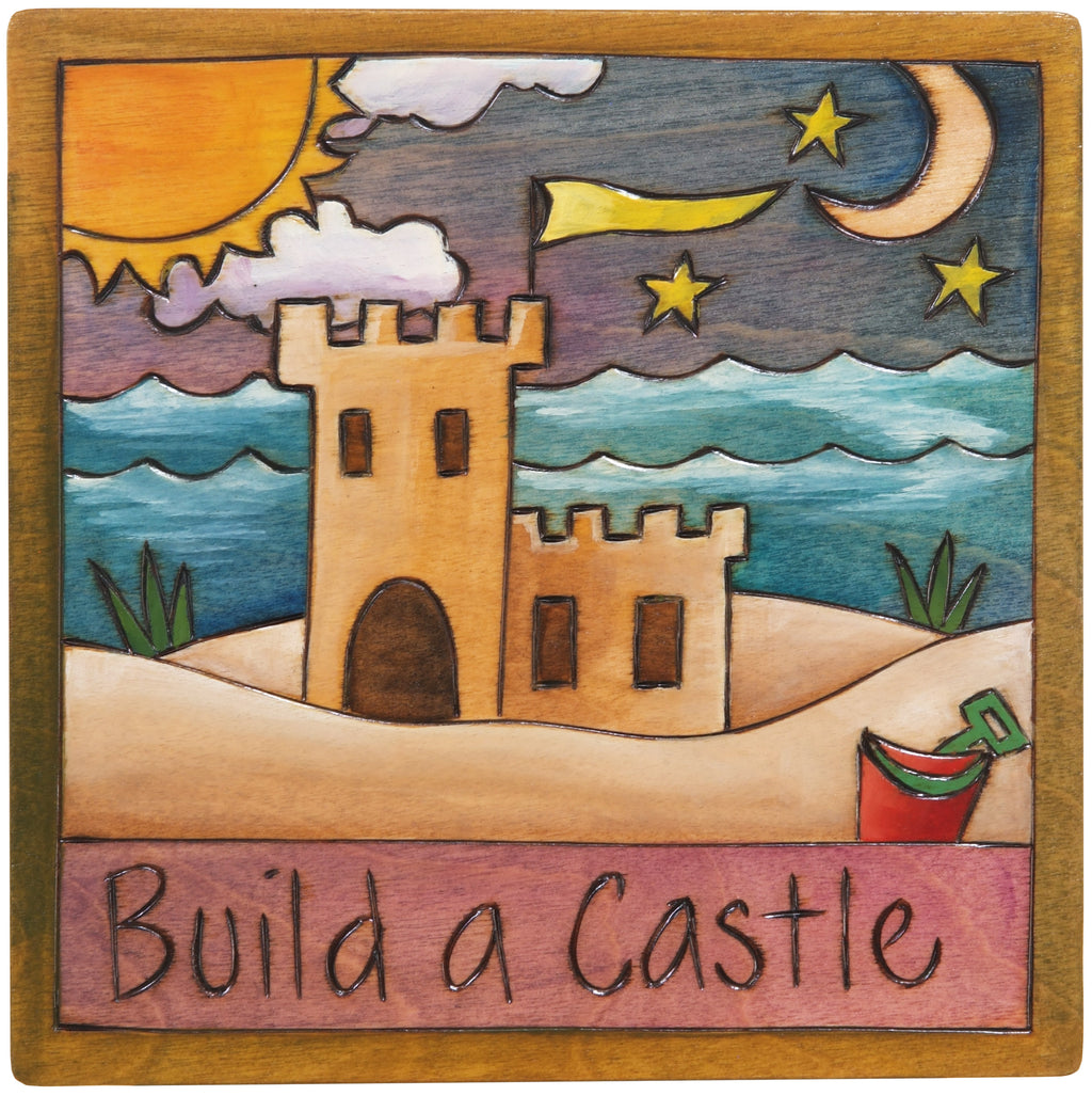 "7""x7"" Plaque –  ""Build a castle"" beach motif"