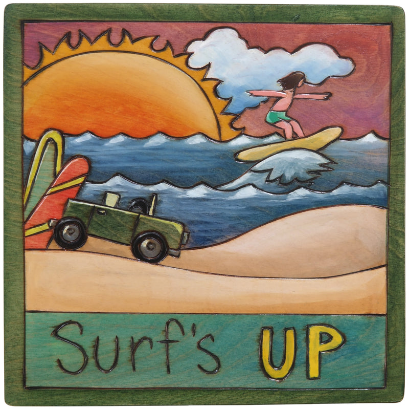 "7""x7"" Plaque –  ""Surf's up"" catching waves design"