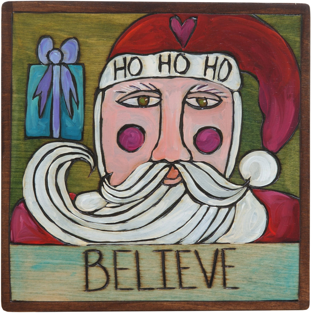 "7""x7"" Plaque –  ""Believe"" holiday Santa plaque"