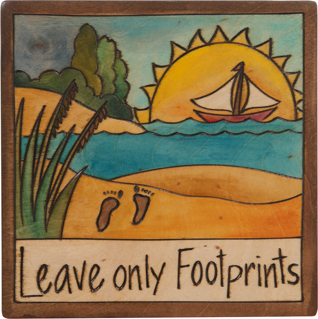 "7""x7"" Plaque –  ""Leave only footprints"" coastal beach motif"