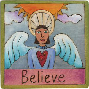 "7""x7"" Plaque –  ""Believe"" holiday plaque with angel"