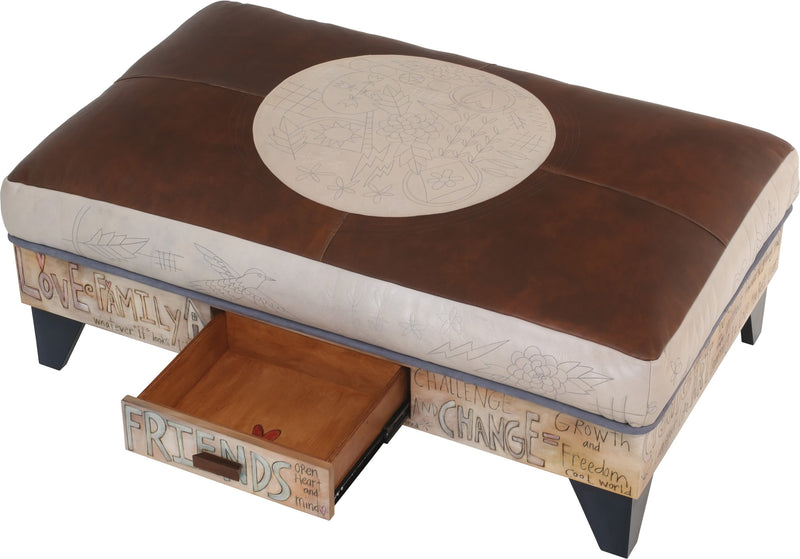 "Ottoman with Storage Drawer –  Hand stitched and painted leather ottoman with inspirational messages and storage drawer, ""Life is Art"""