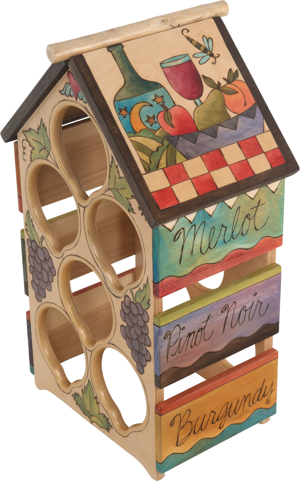 Sticks handmade wine rack with bright and colorful imagery