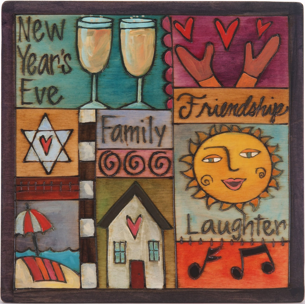 "10""x10"" Plaque –  Colorful holiday plaque with Judaica elements"