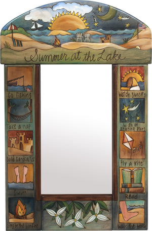 "Small Mirror –  ""Summer at the lake"" mirror with lake themed boxed icons"