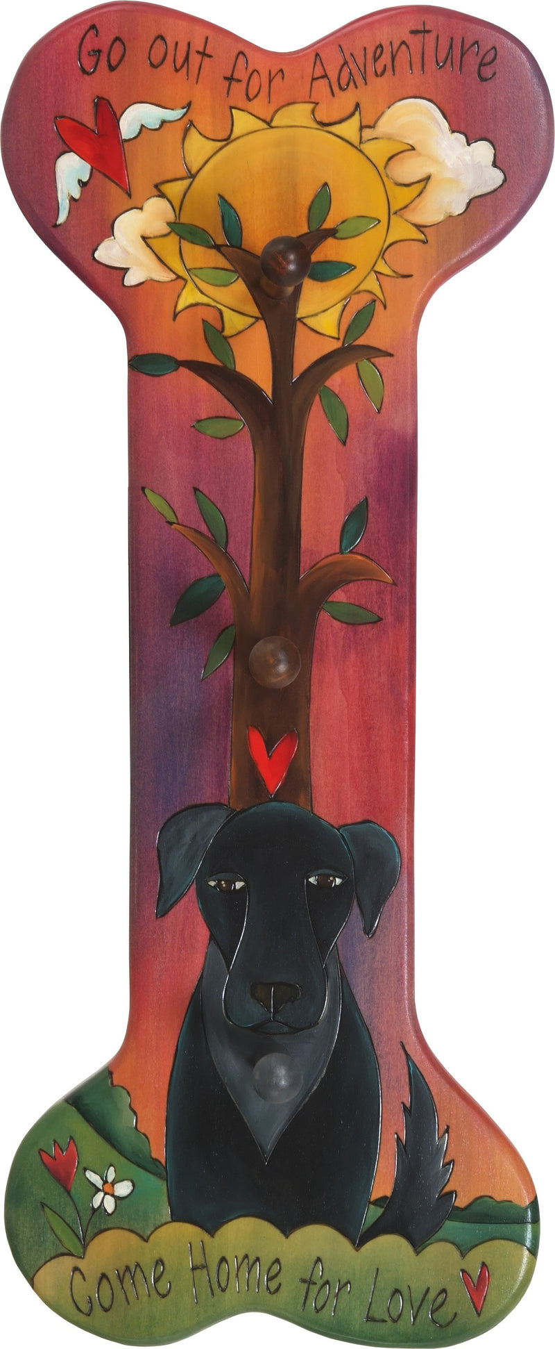 "Vertical Dog Leash Rack –  Dog bone shaped leash rack featuring a pup, tree of life and sun painting, ""Come Home for Love"""