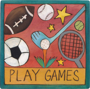 "7""x7"" Plaque –  ""Play games"" fun floating sports icon motif"