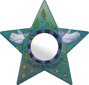 "Star Shaped Mirror –  ""Reach for the Stars"" star-shaped mirror with love birds and star motif"