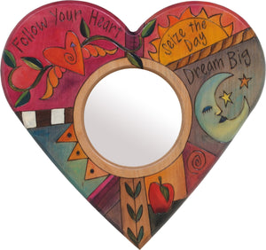 "Heart Shaped Mirror –  ""Follow your Heart"" heart-shaped mirror with sun and moon motif"