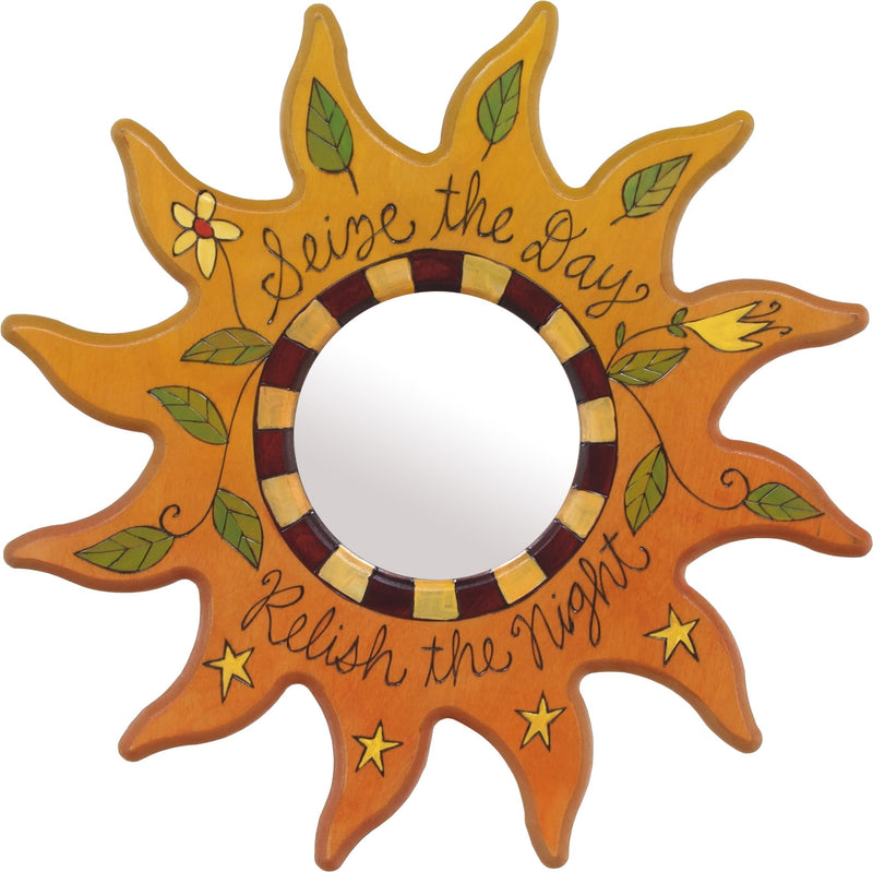 "Sun Shaped Mirror –  ""Seize the Day/Relish the Night"" sun-shaped mirror with flower and star motif"