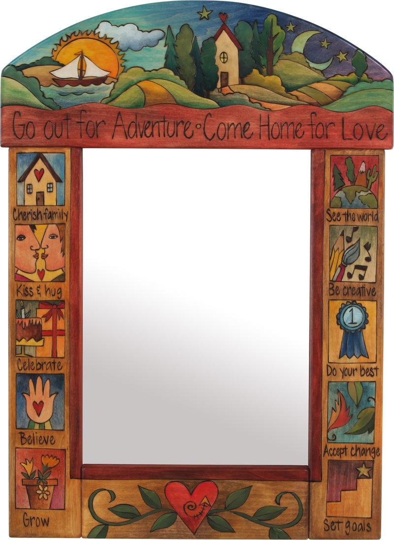 "Medium Mirror –  ""Go out for Adventure/Come Home for Love"" mirror with sunset over the lake and starry night over the rolling hills motif"