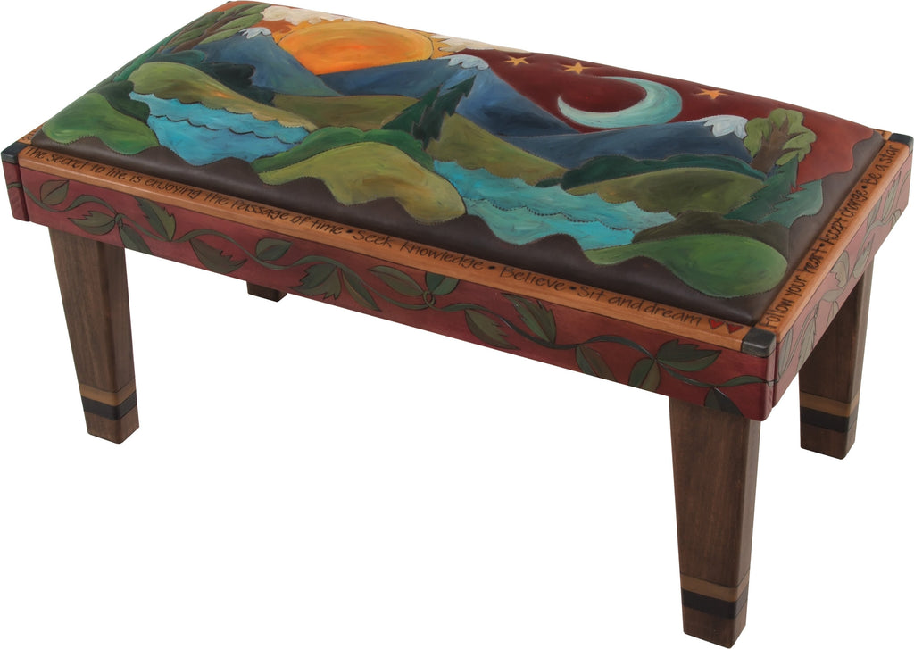 Sticks handmade 3' bench with leather and mountain landscape