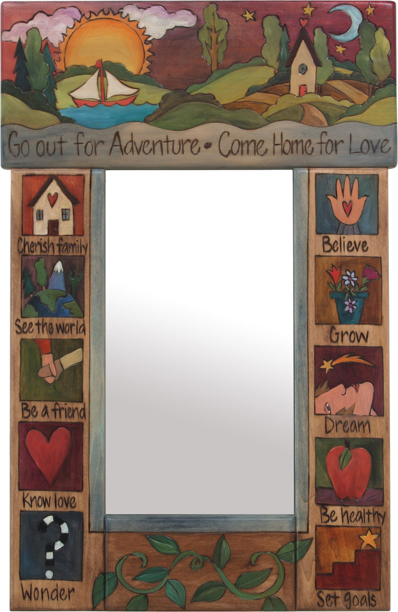 "Small Mirror –  ""Go out for Adventure, Come home for Love"" mirror with landscape, colorful block icons and vine motifs"