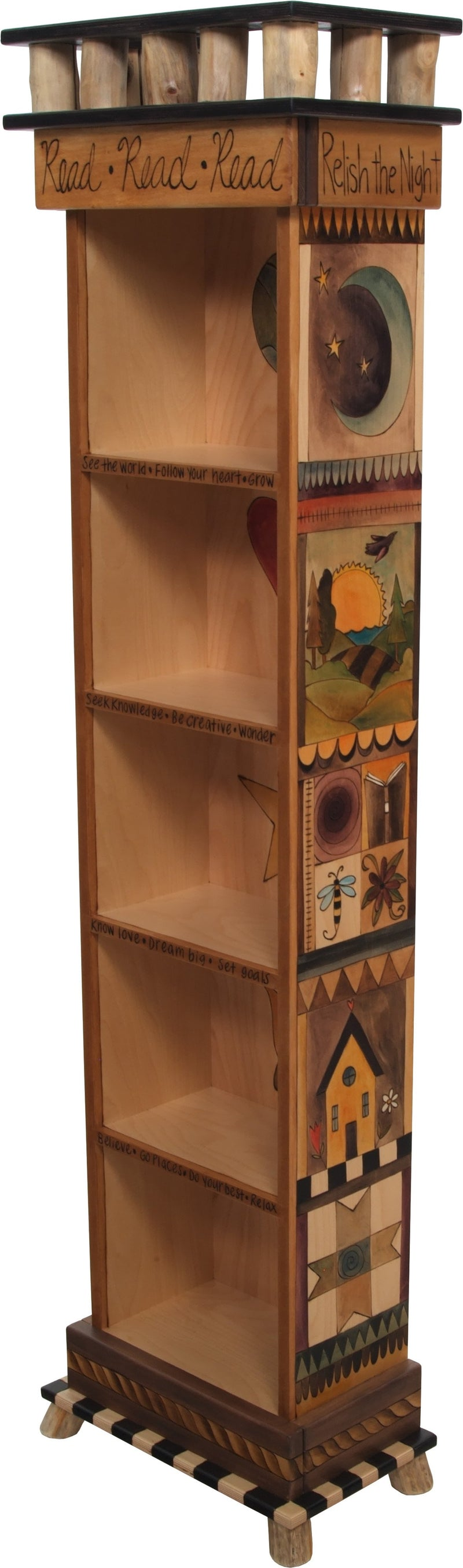Tall Bookcase –  Elegant and natural tall bookcase with block icon motifs