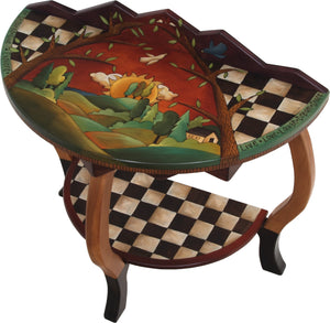 "Small Half Round Table –  ""Live, Love, Laugh"" half round table with big warm sun setting over the rolling hills motif"