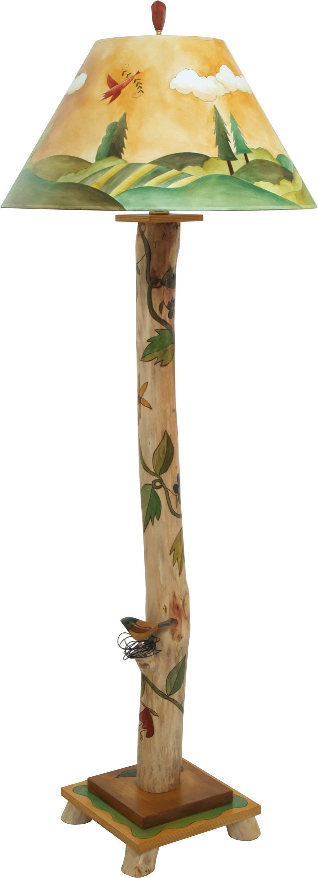 Log Floor Lamp –  Hand painted landscape lamp with vine motifs