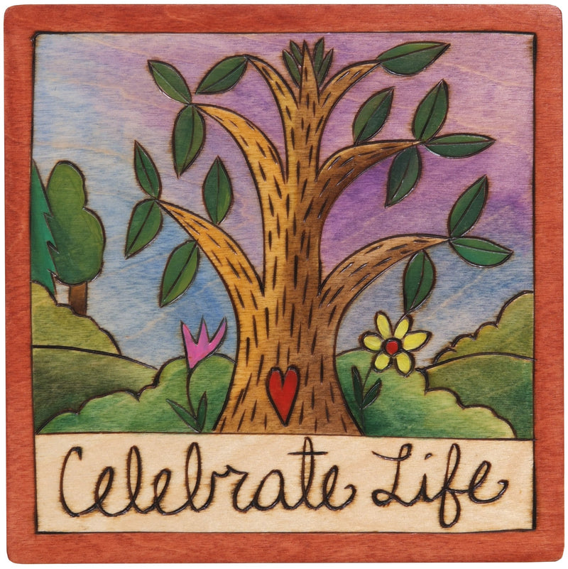 "Sticks handmade wall plaque with ""Celebrate Life"" quote and tree of life imagery"